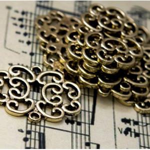 Коннектор 1-1 отв, античное золото, 24x30x2 мм...