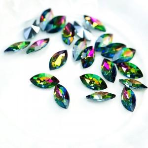 Кабошон стеклянный с гранями, капля, разноцветный, 12х6...