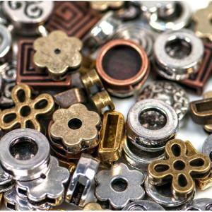 Бусина-слайдер металлическая, разные цвета и размеры...