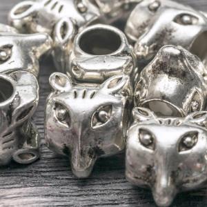 Бусина-тоннель металлическая, античное серебро, 10х9х7 ...