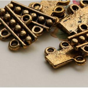 Коннектор 1-3 отв., античное золото, 19х13х2.5 мм...