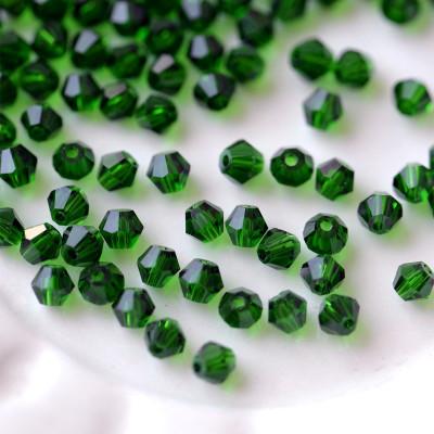 Бусина биконус стеклянная, зеленый, 4 мм (уп 30шт)