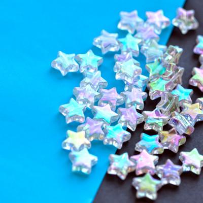 Бусина-звездочка акриловая, цвет белый, 10х4 мм