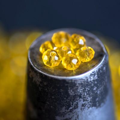 Бусина абакус стеклянная граненая, желтый, 6х4 мм