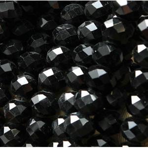 Бусина абакус стеклянная граненая, черный, 14х10 мм...