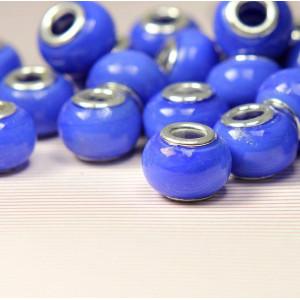 Бусина в стиле Пандора из стекла, синий, 14х9 мм...