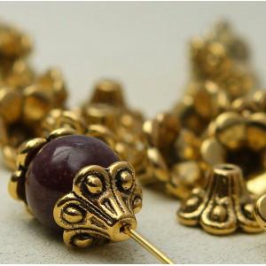 Чашечка (шапочка) для бусин, античное золото, 10 мм...