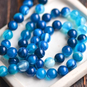 Бусины агата, цвет синий, окрашен., 10 мм...