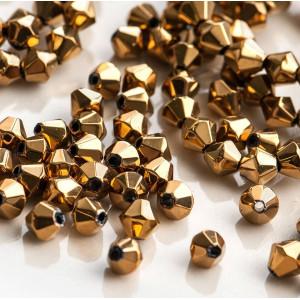 Бусина биконус стеклянная, золотой, 6 мм...