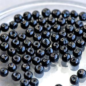 Бусина стеклянный жемчуг, черный гематитовый, 4 мм (уп ...