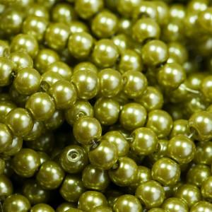 Бусина стеклянный жемчуг, светло-зеленый, 8 мм...