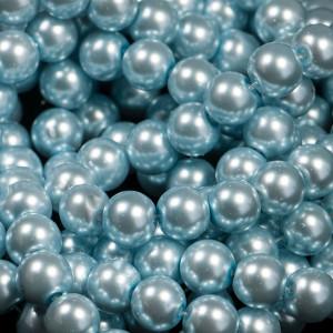 Бусина стеклянный жемчуг, голубой, 10 мм...
