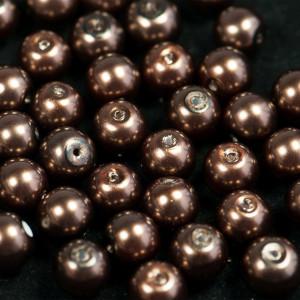 Бусина стеклянный жемчуг, серо-коричневый, 10 мм...