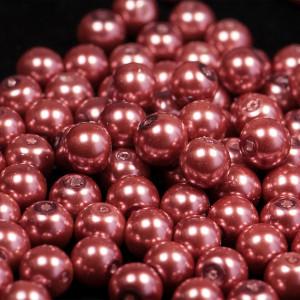 Бусина стеклянный жемчуг, розово-красный, 10 мм...