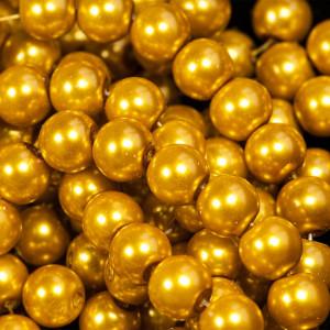 Бусина стеклянный жемчуг, золотистый, 10 мм...