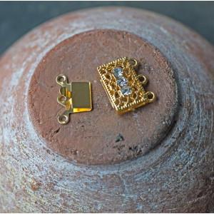 Замок для украшений, стразы, цвет - золото, 18x17x7 мм...