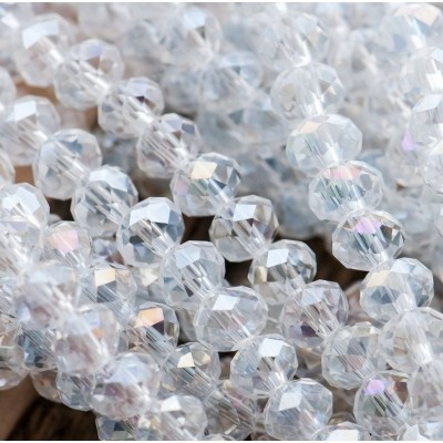 Бусина абакус стеклянная граненая, прозрачный АВ, 6х4 мм