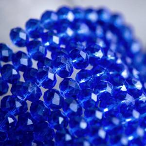 Бусина абакус стеклянная граненая, синий, 10х7 мм...