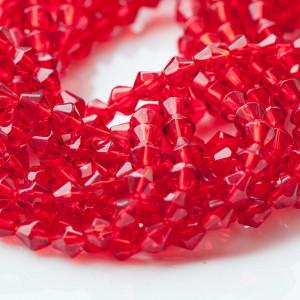 Бусина биконус стеклянная, красный, 6 мм...