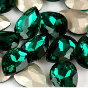 Кабошон стекло Кристалл, каплевидный, цвет изумрудный, ...