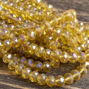 Бусина абакус стеклянная граненая, золотистый радужный,...