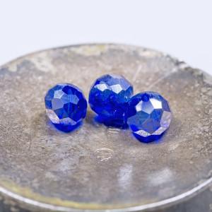 Бусина абакус стеклянная граненая, синий, 4х3 мм  (уп 5...