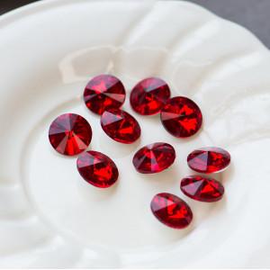 Кабошон стеклянный круглый Риволи, светло-красный, 14х7...