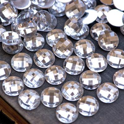 Кабошон акрил, круглый, прозрачный, 16х5.5 мм
