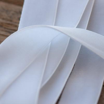 Бархатная лента, белый, ширина 19 мм