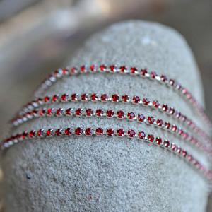 Цепочка для бижутерии со стразами, цвет Lt.Siam/серебро...