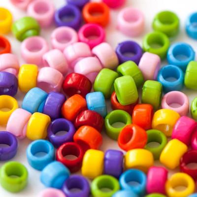 Бусина акриловая для браслетов, цветовой микс, 8x5.5 мм