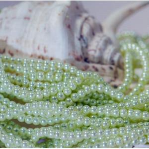 Бусина стеклянный жемчуг, бледно-зеленый, 4 мм (уп 50шт...