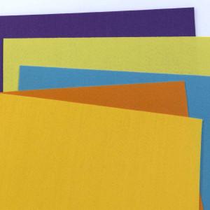 Набор фетра 5 листов: желтый, оранжевый, голубой, фиолетовый
