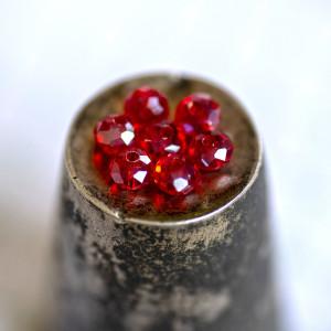 Бусина абакус стеклянная граненая, красный, 6х4 мм...