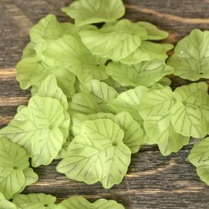 Подвеска акриловая, листья зеленого цвета, 24x22.5x3 мм...
