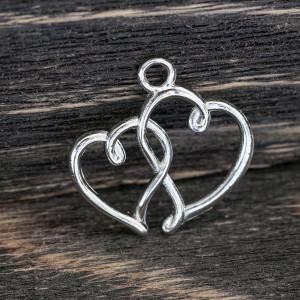 Подвеска металлическая в форме сердечек, цв. платина, 2...