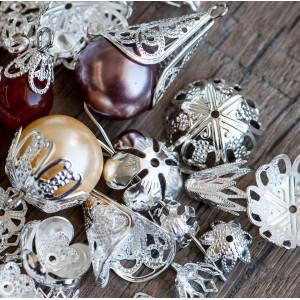 Чашечка (шапочка)  для бусин, серебро, разные размеры (...