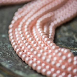 Бусина стеклянный жемчуг, розовый, 6 мм...