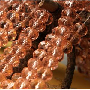 Бусина абакус стеклянная граненая, розовый, 10х7 мм...