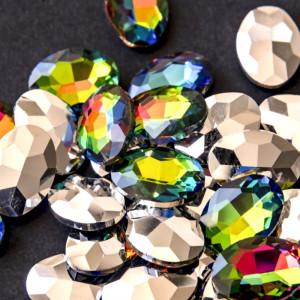 Кабошон стеклянный с гранями, овал, разноцветный, 18х13...