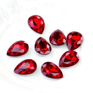 Кабошон стеклянный с гранями, капля, ярко-красный, 18х1...