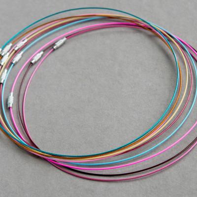 Чокер сталь в оплетке, разные цвета, 44.5 см толщина 1 мм