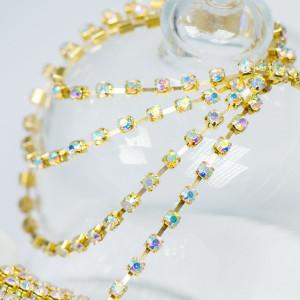 Цепочка для бижутерии со стразами, цвет Cristal АВ/золо...