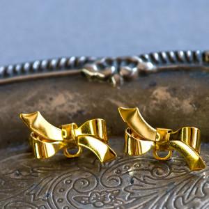 Основа для броши в виде бантика, золото, 27х18х13 мм...