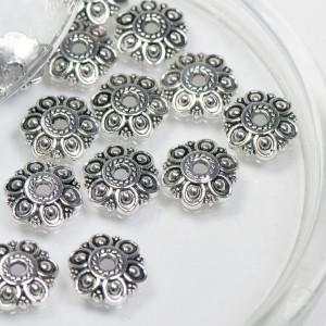 Шапочка для бусин, античное серебро, 14х13х3 мм...