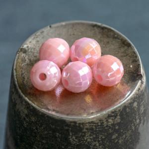 Бусина акриловая круглая граненая, розовый перламутр, 6...