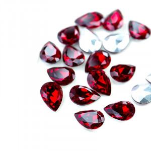 Кабошон стеклянный с гранями, капля, красный, 14х10 мм...