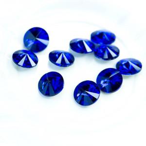 Кабошон стеклянный круглый Риволи, синий, 14х7 мм...