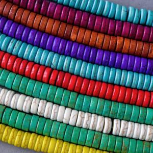 Бусина говлит синтетический, рондель, разные цвета, 8х4...