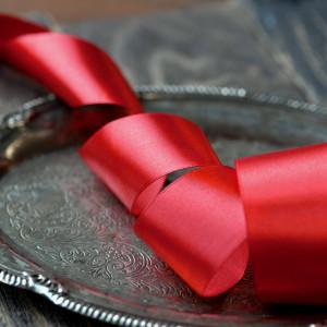 Атласная лента, красный, ширина 40 мм...
